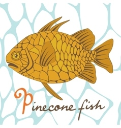 A colorful of exotic pinecone fish vector