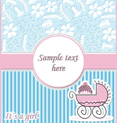 Postcard with baby in pram vector