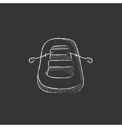 Inflatable boat drawn in chalk icon vector