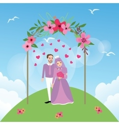 Couple married islam woman girl wearing veil vector