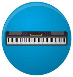 Piano synthesizer icon flat vector