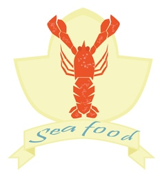 Sea food label lobster logo on isolated background vector