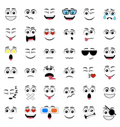abstract flat style emoticon icon set vector image vector image
