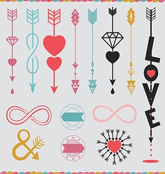 Arrows with love set vector