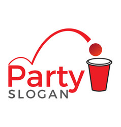 Beer pong party logo design vector