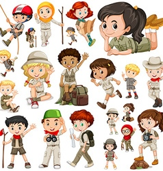 Boys and girls in safari outfit vector image vector image