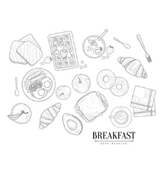 Breakfast food isolated drawings set hand drawn vector