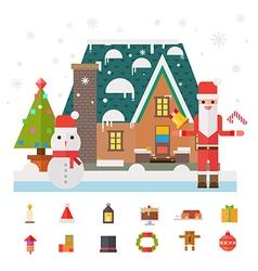 Christmas and new year santa gifts at home flat vector