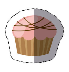 Color muffin with chocolate icon vector