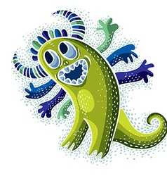 Cool cartoon happy smiling monster simple weird vector