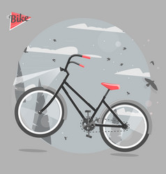 cycling concept bicycle ride in the woods vector image vector image