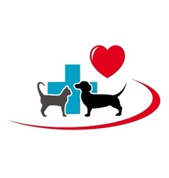 Dachshund dog and cat on veterinary icon vector