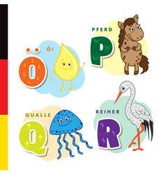Deutsch alphabet olive oil horse jellyfish vector