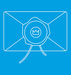 Envelope with wax stamp icon outline style vector