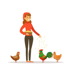 farmer woman feeding chickens poultry breeding vector image