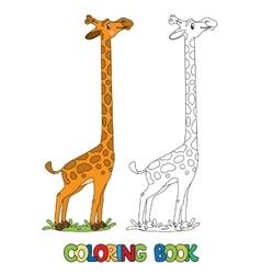 Funny giraffe coloring book vector