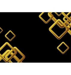 Golden squares on black background vector
