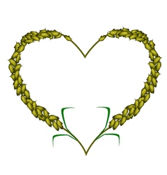 Green color of millet in a heart shape vector