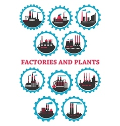 Industrial plants and factories icons vector image vector image
