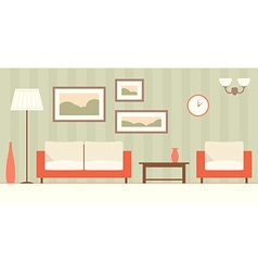 Interior of a modern minimalistic living room flat vector image