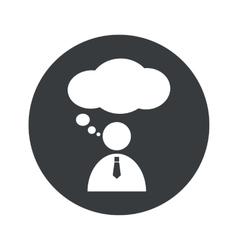 Monochrome round thinking person icon vector