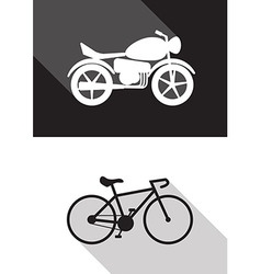 motorcycle and bicycle vector image vector image