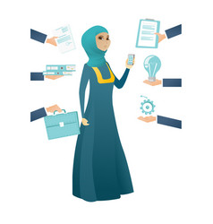 Muslim business woman having lots of work to do vector