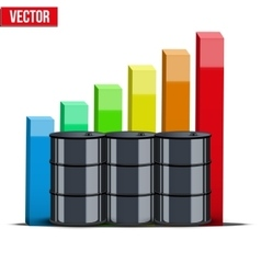 Oil barrels on the price chart background vector image vector image
