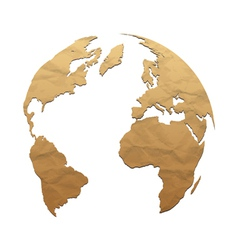 Relief world globe from texture paper vector