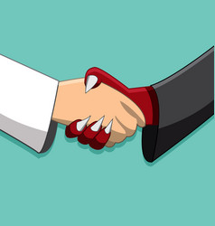 saint and demon handshake peace time friendship vector image