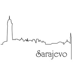 Sarajevo city one line drawing background vector
