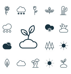 Set of 16 landscape icons includes plant cloud vector