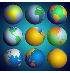 Set of globes Color world map vector image