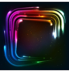 Shining rainbow neon lights squared frame vector image vector image