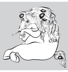 smoking horse vector image