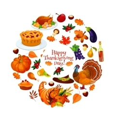 Happy Thanksgiving Day round sticker emblem vector image