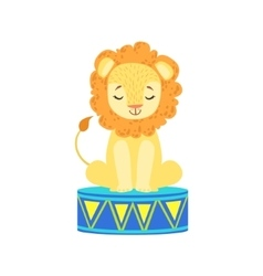 Circus trained lion animal artist waiting for the vector