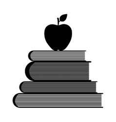Education symbol stack of books and apple vector