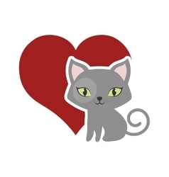 Cat fluffy lovely animal red heart vector