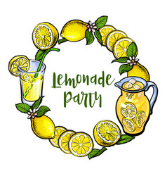 Round frame of lemons and lemonade with place for vector