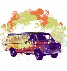 Van retro illustration vector