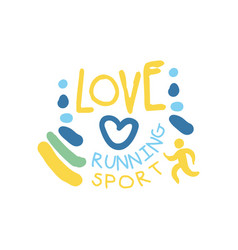 love running sport logo symbol colorful hand vector image