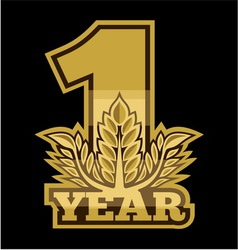 Laurel wreath 1 year vector