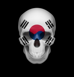 South korean flag skull vector