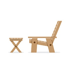 Side view of wooden garden chair and table vector