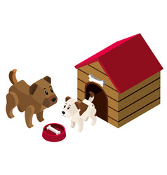 3d design for pet dogs in doghouse vector