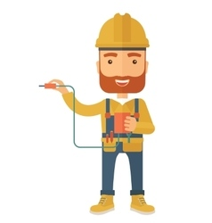 Electrician holding power cable plug vector