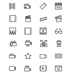 Cinema line icons 3 vector