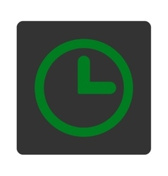 Clock flat green and gray colors rounded button vector