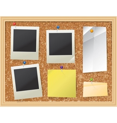 Corkboard bulletin board with photos and paper vector